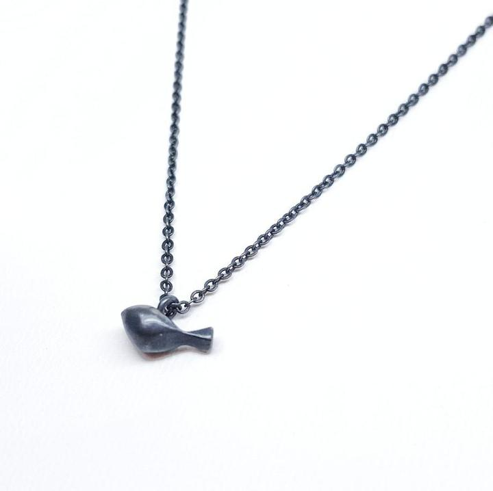 Pendant - Tiny Tweet Oxidized Sterling Silver by LaObjeteria