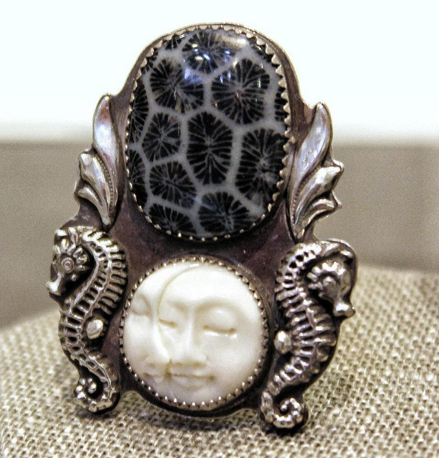 Ring - Fossilized Coral with Sun-Moon (Size 10) OOAK Sterling Silver by Wanderlust Silver