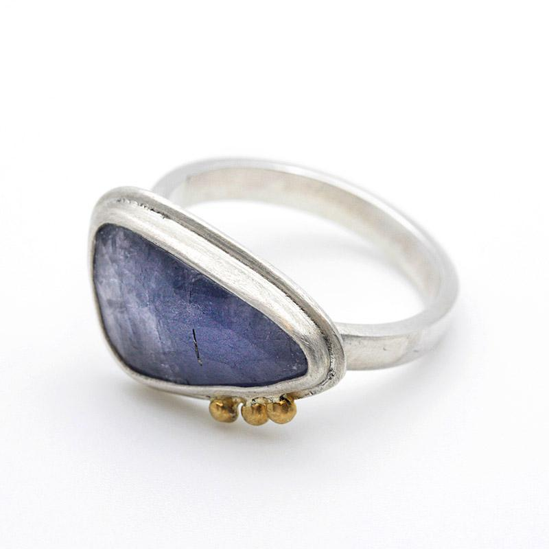 Ring - Size 8 - OOAK Tanzanite Sterling Silver 22k by Silver + Salt