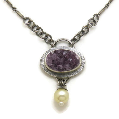 Necklace - Amethyst with South Sea Pearl OOAK by Allison Kallaway