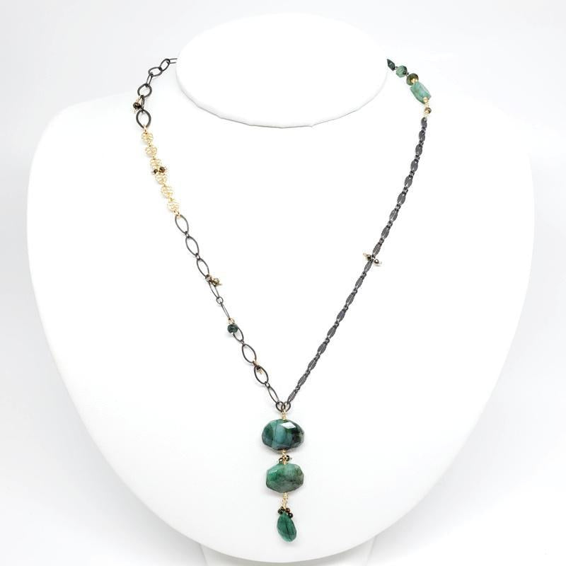 Necklace - Emerald Pillows Teardrop Long Mixed Chains by Calliope Jewelry