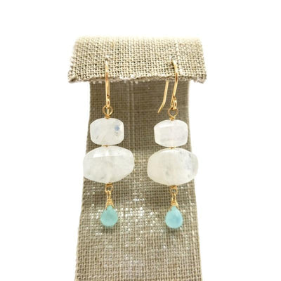 Earrings - Chalcedony Drops Moonstone Cushions by Calliope Jewelry
