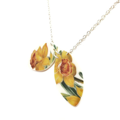 Necklace - Duo Daffodils Vintage China by Material+Movement