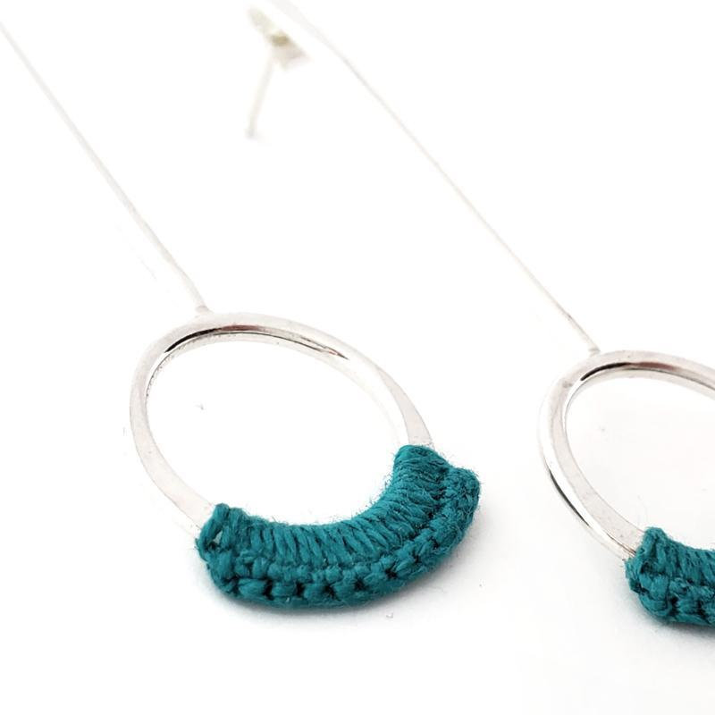 Earrings - Turquoise Sterling Droplet Drops by Twyla Dill