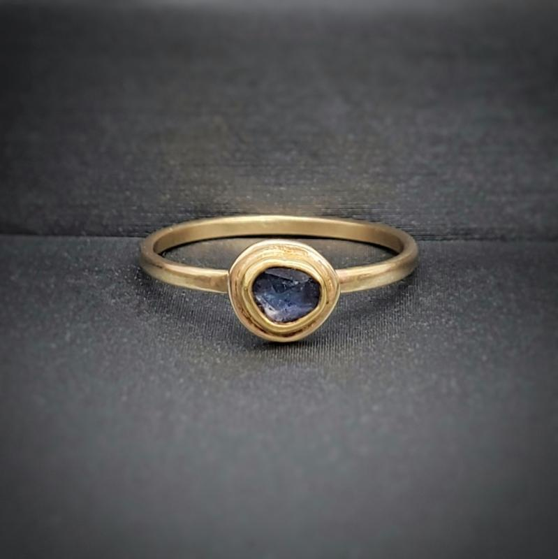 Ring - Size 5.75 - Sapphire Stacking Solid 14k Gold by Silver + Salt