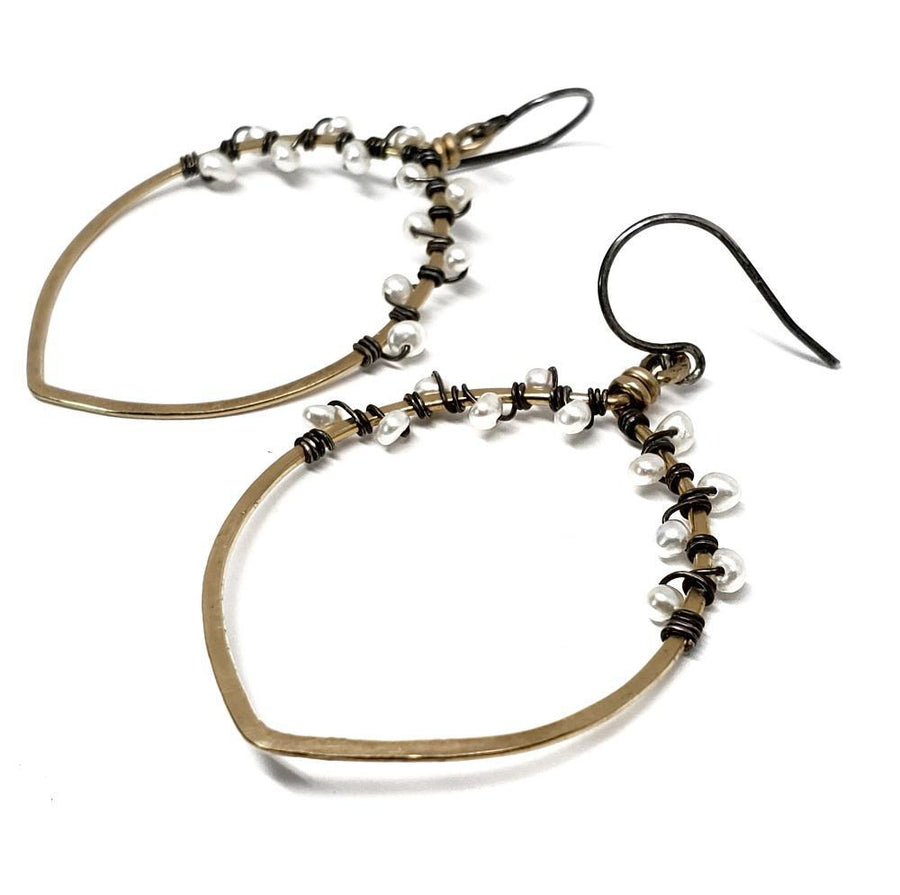 Earrings - Gold-filled Hoop Wrapped w/ Pearls by Calliope Jewelry