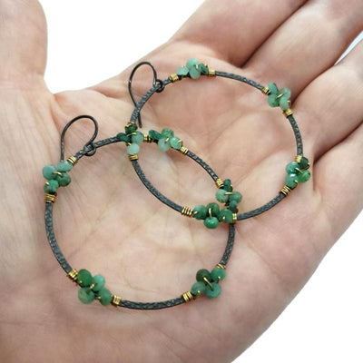Earrings - Emerald Wrap Large Oxidized Hoops by Calliope Jewelry