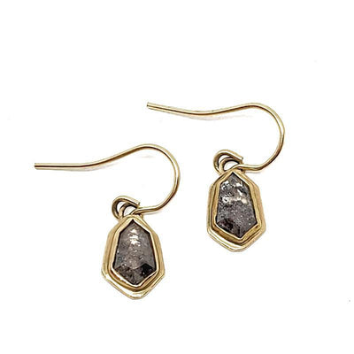 Earrings - Geometric 1.41tcw Salt & Pepper Diamonds 14k YG by Silver + Salt