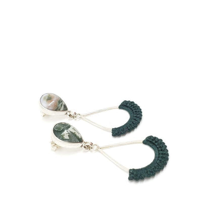 Earrings - OOAK Green Ocean Jasper Sterling Euri by Twyla Dill