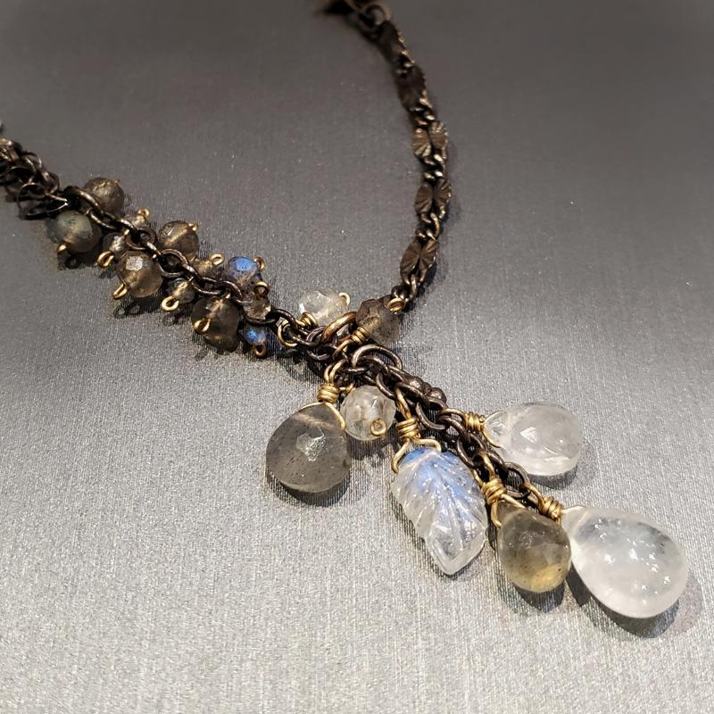 Necklace - Moonstone and Labradorite Cluster by Calliope Jewelry
