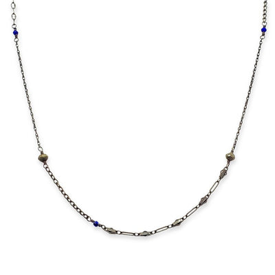 Necklace - Sweet Bead Chain with Lapis & Pyrite Accents by Calliope Jewelry