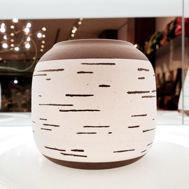 Birch Vase - Round Wide Band by Justin Caraco Ceramics