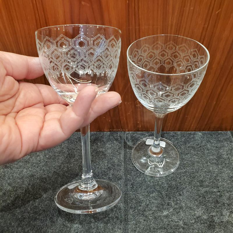 Stemware, Set of Two - Mid Century Nick and Nora by Reclamation Etchworks