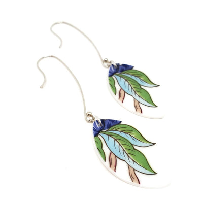 Earrings - Long Blue Green Leaf Vintage China by Material+Movement