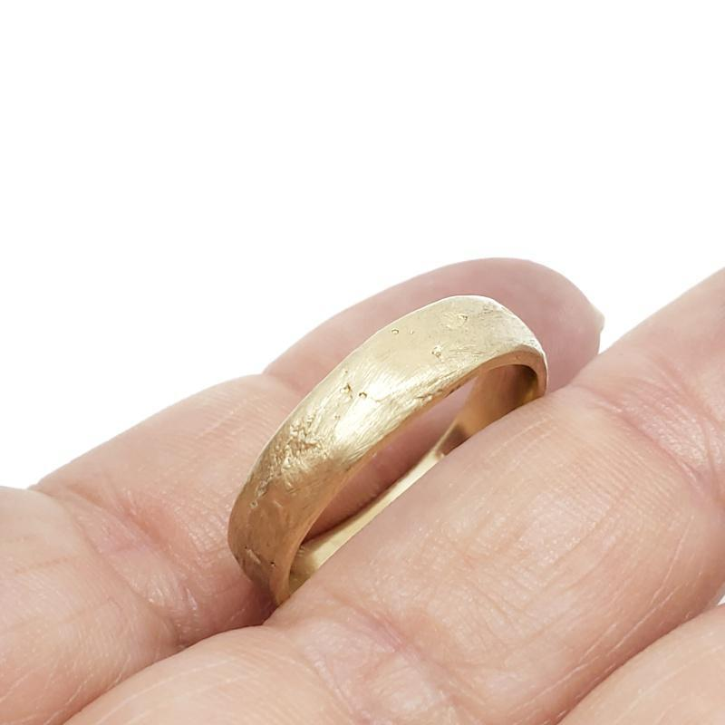 Bridal Ring - 5mm Sandcast 14k Yellow Gold by Silver + Salt