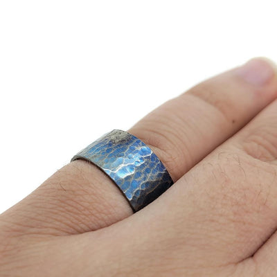 Ring - Size 9 - Mixed Hammered Texture and Beveled Edge Titanium by Taviametal