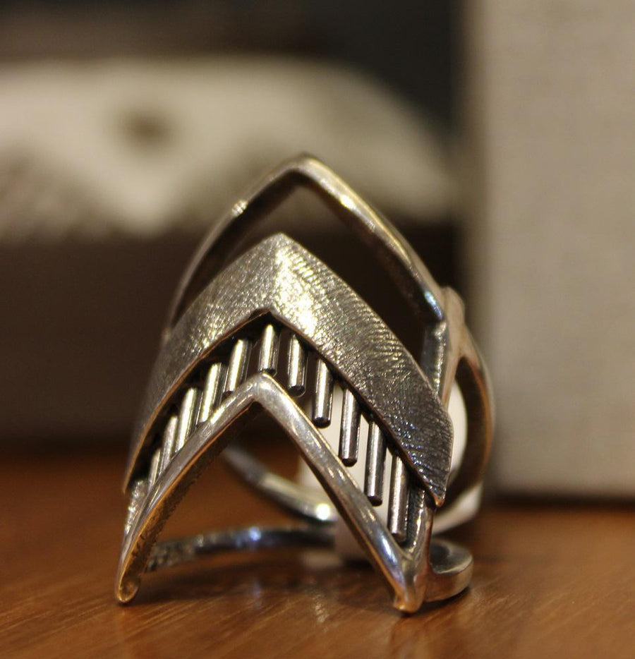 Ring - Size 7.5 Geordi Rhombus Sterling Silver by Dana C Fear