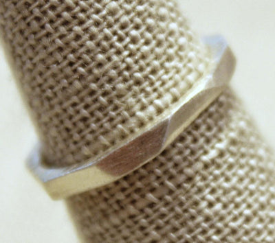 Ring - Size 6.25 - Architectural Ring with Heavy Faceted Texture Sterling Silver by Taviametal