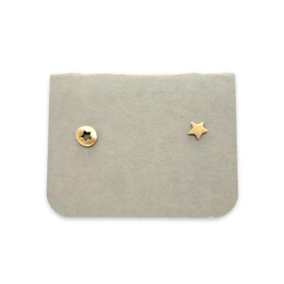 Earrings - 14k Yellow Gold Mismatched Star Cutout Studs by Michelle Chang