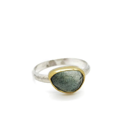 Ring - Size 6 - Moss Aquamarine Sterling Silver 18k by Silver + Salt