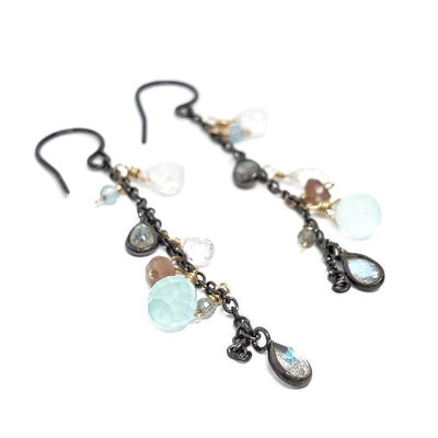 Earrings - Labradorite Chalcedony Thin Chain Drop by Calliope Jewelry