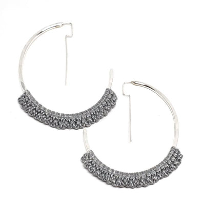 Earrings - Slate Sterling Geo Hoops by Twyla Dill