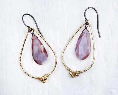 Earrings - Teardrop Chocolate Moonstone Drop Gold-filled by Calliope Jewelry