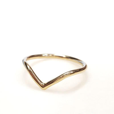 Bridal Ring - 1.5mm Chevron 14k Yellow Gold by Silver + Salt