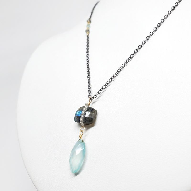 Necklace - Chalcedony Drop Labradorite Quartz Wrap by Calliope Jewelry