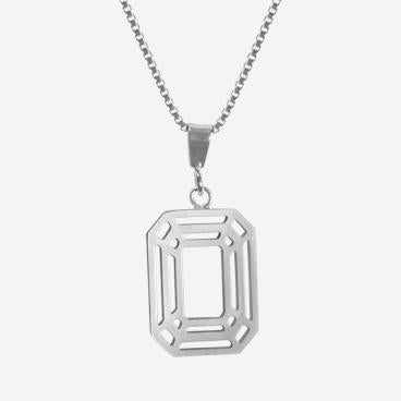 Pendant - Emerald Cut Shiny Sterling Silver by LaObjeteria
