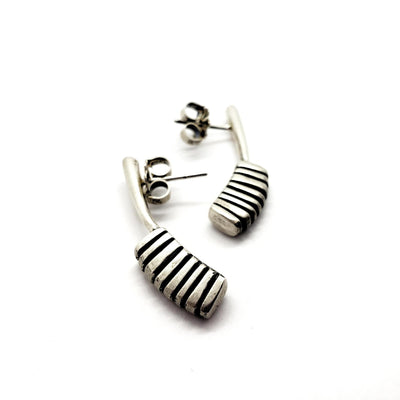 Earrings - Architectural Long Studs by Taviametal