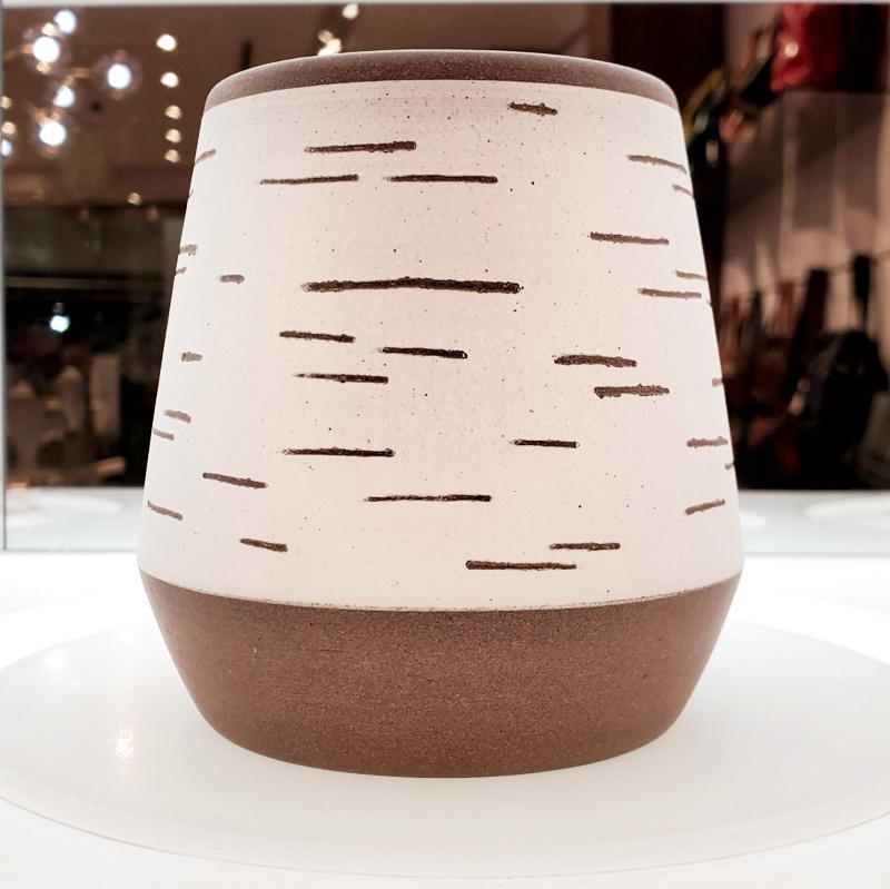 Birch Vase - Wide Tapered Banded by Justin Caraco Ceramics