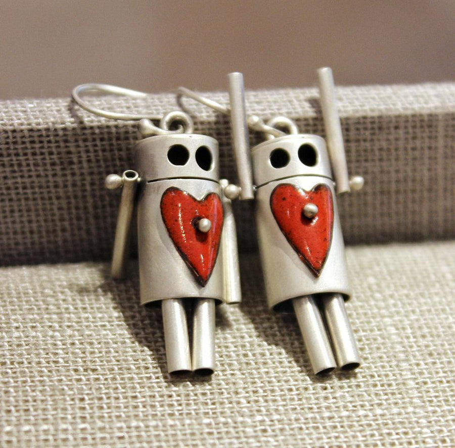Earrings - ROBots - Red Enamel Heart Sterling Silver by Robert Dudenhoefer II