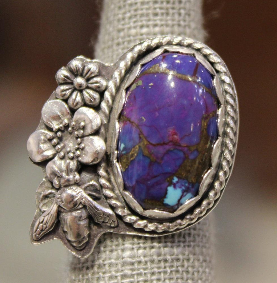Ring - Purple Mohave Turquoise with Sterling Silver Flowers & Bee (Size 7) OOAK by Wanderlust Silver
