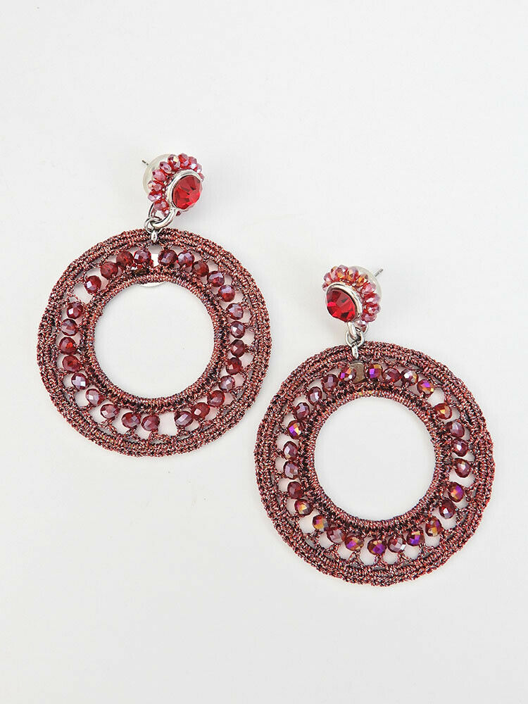 Crochet Hoop Statement Earrings