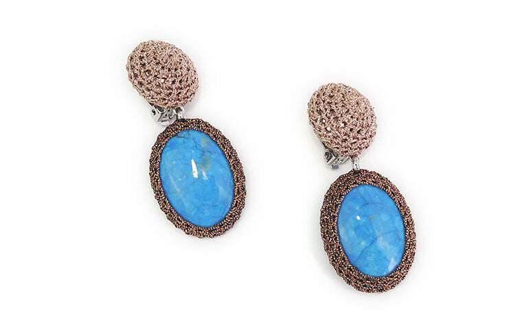 Wire Crochet Turquois Drop Earrings