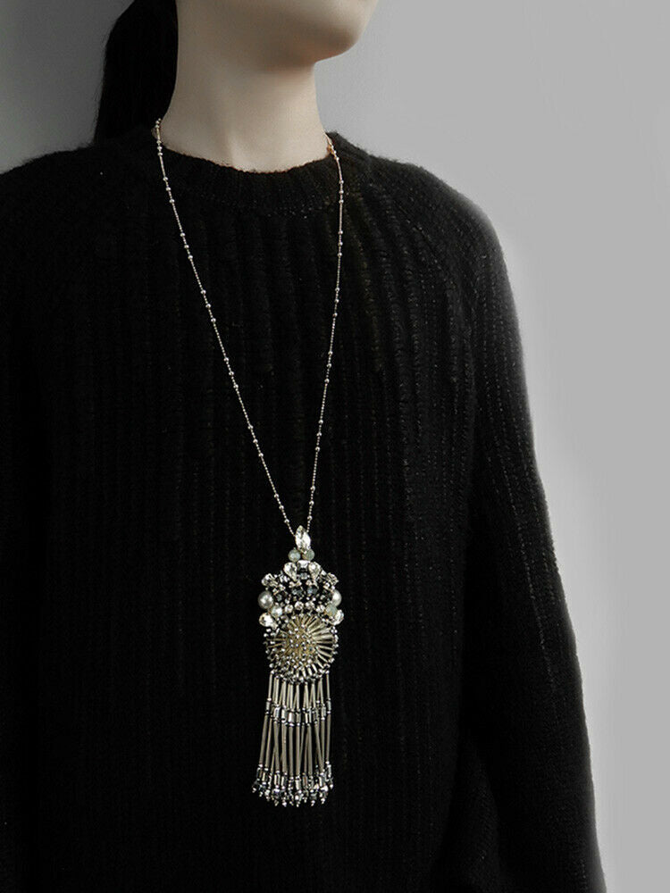 Sparkling Statement Necklace With Fringed Pendent