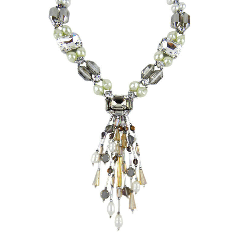 Luxury Style Pearl And Crystal Y Shaped Statement Necklace Silver Tone