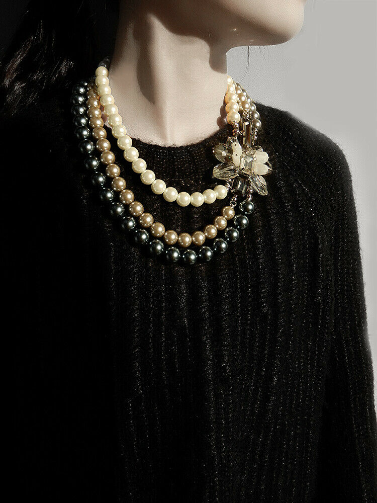 Three Strand Imitation Pearl Statement Necklace With Handcrafted Flower On The Side