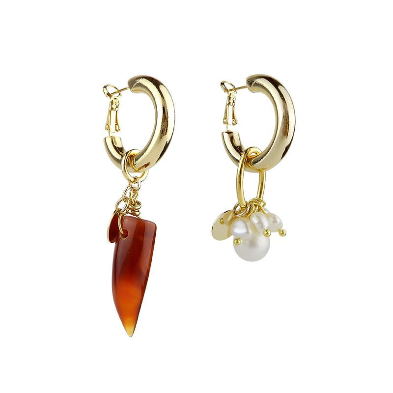 Agate and Pearls Asymmetrical Statement Earrings