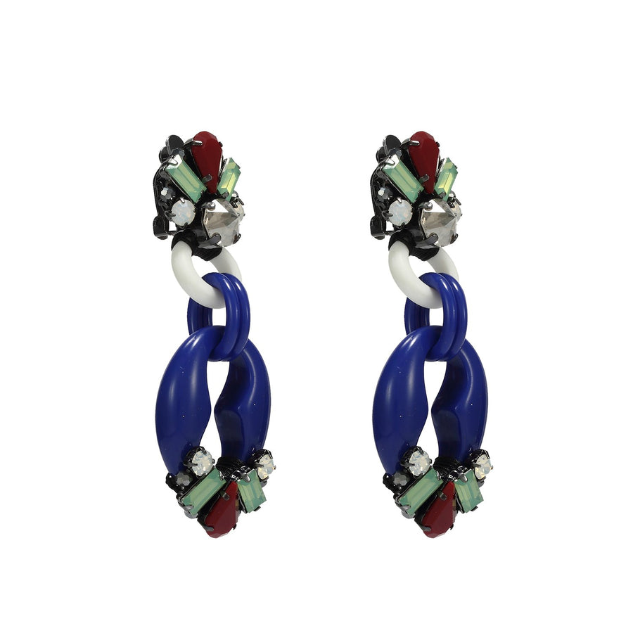 Art Deco Chandelier Earrings of Crystal and Rezin