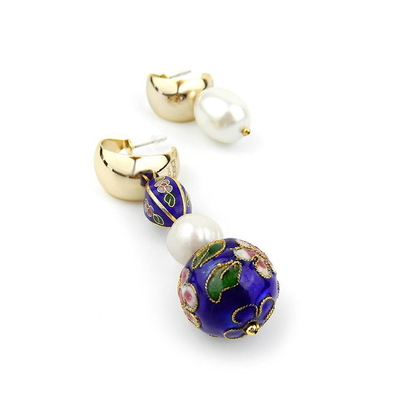 Asymmetrical Cloisonne and Pearl Earrings