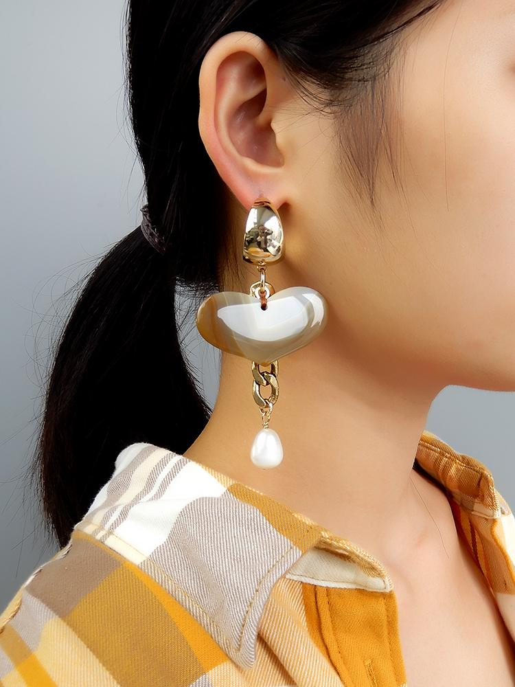 Asymmetrical Earrings with Agate and Citrine