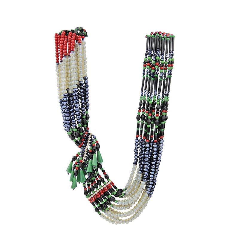 Asymmetrical Multiple Handmade Beaded Necklace