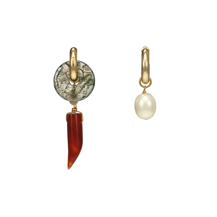 Asymmetrical Statement Agate and Pearls Earrings