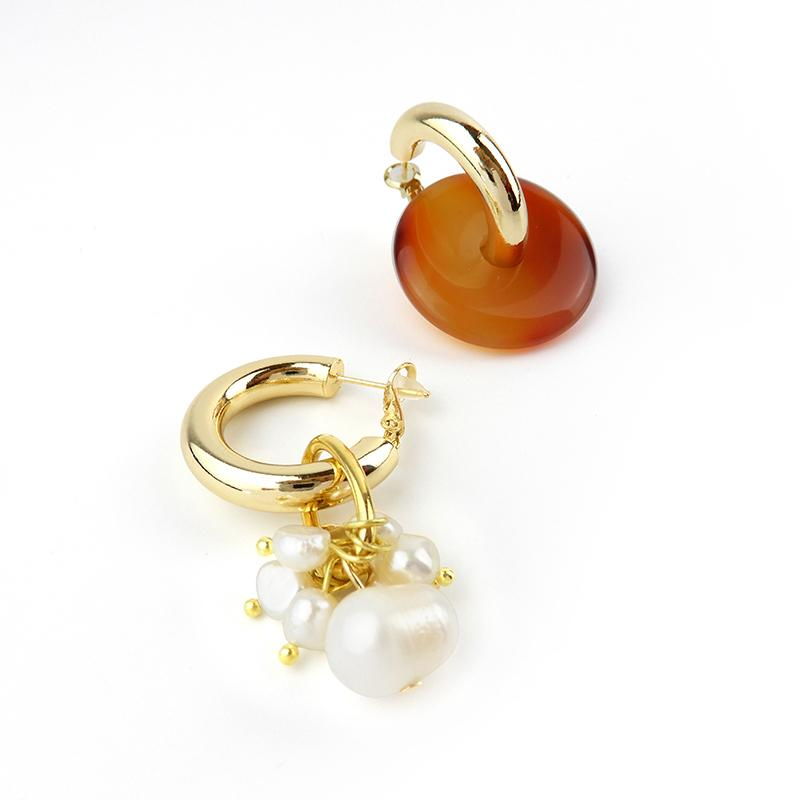 Asymmetrical Statement Earrings of Agate and Pearls