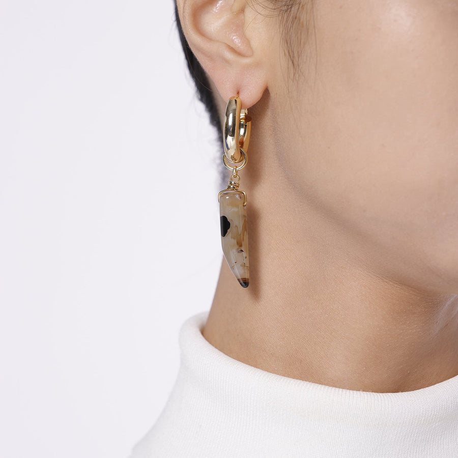 Asymmetrical Statement Earrings of Natural Stones
