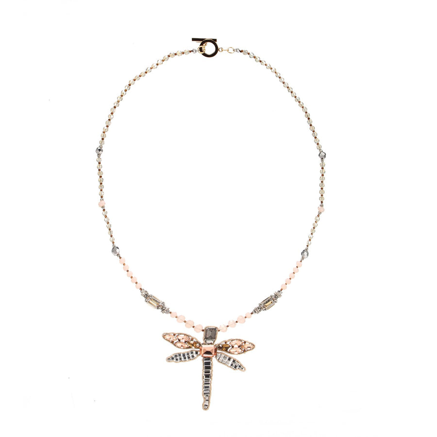 Bead Embroidery Dragonfly Pendent Necklace