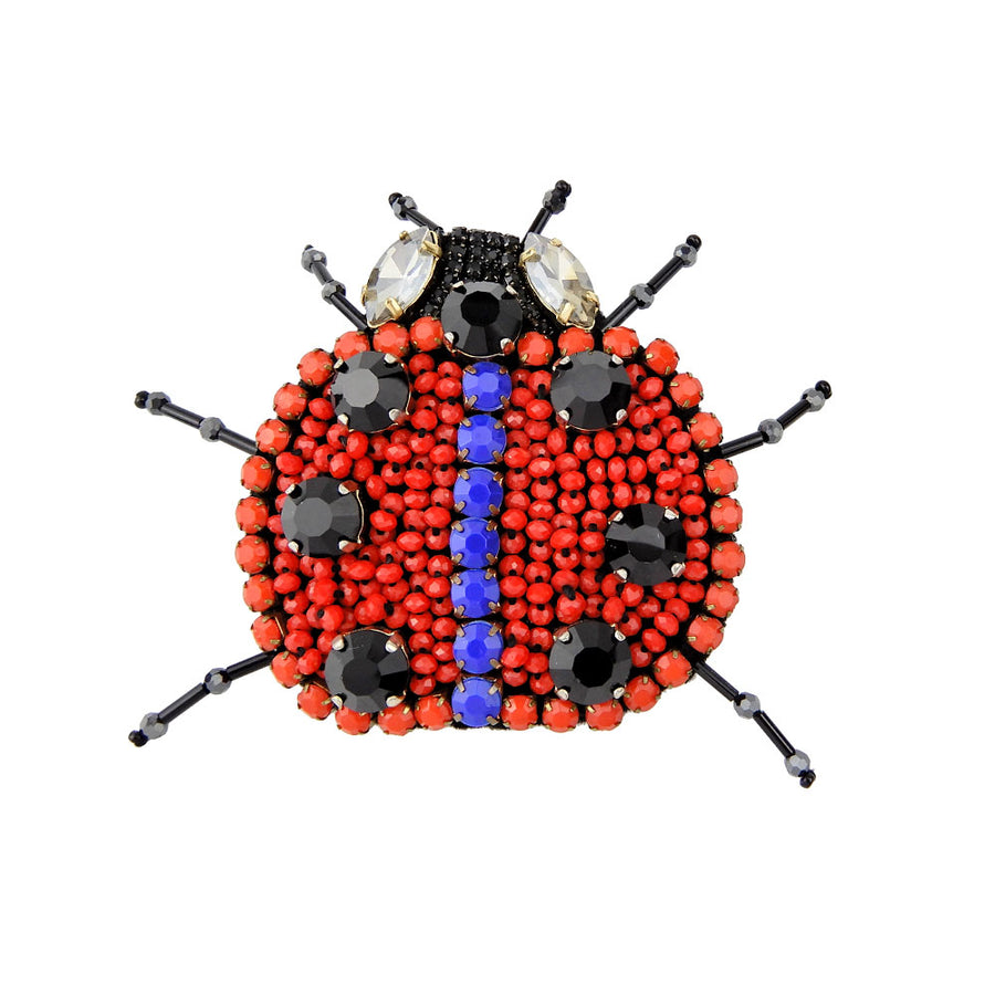 Bead Embroidery Ladybird Beetle Brooch