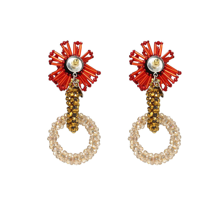 Beads Weaving Hoops Statement Earrings